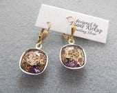 Swarovski Crystal Rose Patina Cushion Cut Earrings - Presented on Gold Filled Lever Back Findings