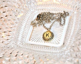 Typewriter Key Necklace, Personalized with a Letter K Initial, Typography Jewelry, Gift for Her.