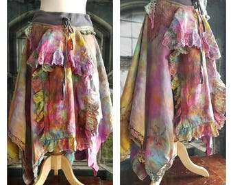Pink Sunshine Shabby mori maxi skirt the dyed prairie gypsy lagenlook ruffle rustic Boho embroidered S M