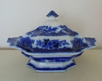 19th c. Flow Blue & White Covered Casserole Transferware Ironstone English England Antique