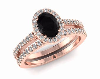 Black Diamond Engagement Ring Set, Black Engagement Rings Oval Cut Natural Black Diamond and White Diamond Wedding Set 14K Rose Gold