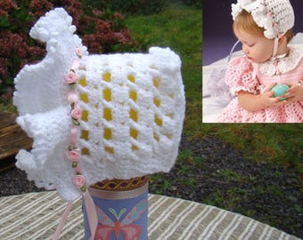 Hand Crochet Frilly Baby Bonnet - 12 to 18 months