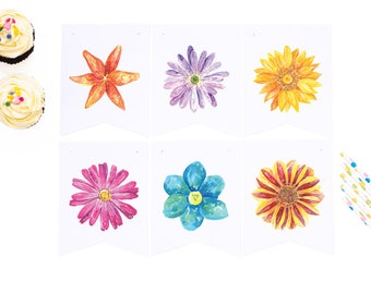floral paper banner, instant download, digital art, digital banner, wall hanging, party decorations, flower banner, celebration decorations