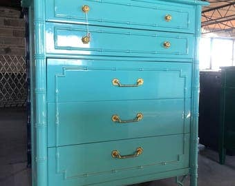 Thomasvile Faux Bamboo Tallboy Lacquered Tiffany Blue   Ready To Ship!