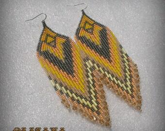 Long Indian style beads earrings ,  tribal style -  boho style -  Native American Beaded Earrings