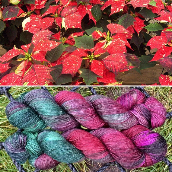 Poinsettia Sparkle Sock, 4ply merino yarn with silver stellina