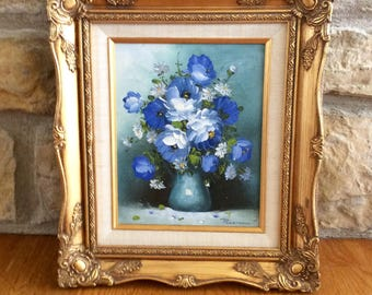 Vintage Floral Still Life Oil Painting in Gold Ornate Frame, Artist Signed,  R. Pasanault, French Country, Hollywood Regency, Cottage