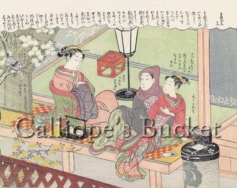 Fun with the new Kimono - 袖新造との戯れ, From the series: The Amorous Adventures of Mane'emon Shunga Ukiyo-e woodblock print.