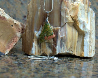 Natural Unakite charm pendant free form with silver plated bail and necklace