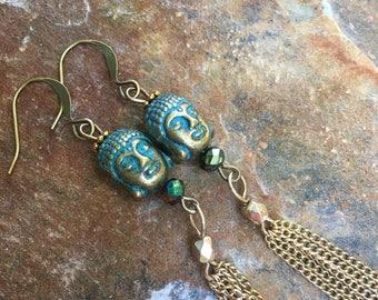 Buddha earrings gold tassel earrings long dangle earrings gold gold chain tassel earrings gift for her dangle earrings Buddha earrings yoga