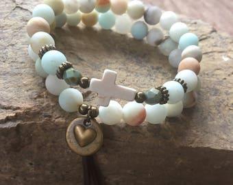 set of 2 bracelets leather tassel amazonite stone bracelet bohemian bracelet women's stretch bracelets mens cross bracelet heart charm cross