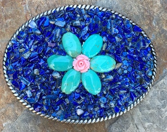 blue stone beaded belt buckle turquoise blue green stone pink rose bud flower belt buckle bohemian belt buckle women's belt buckle ladies