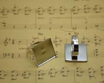 50pcs Adjustable Antique Silver Ring Blanks 20mmx20mm