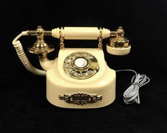 "Working Vintage ""Coquette"" French Style Rotary Dial Telephone with Ivory & Gold Case, Tested and Works!"