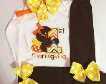 Baby Girl Thanksgiving Outfit, Girl First Thanksgiving Outfit, First Thanksgiving Outfit, Girl 1st Thanksgiving Outfit