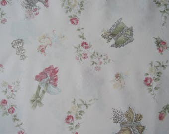 "Fat Quarter of Micci Collection Victorian Roses Cherubs on Light Pink Background by Yuwa Fabric. Approx. 18"" x 22"" Made in Japan."