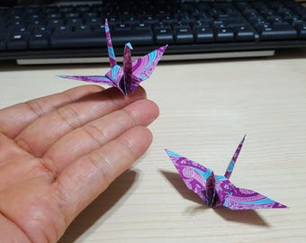 "Lot of 80pcs 3-Inch Batik Design Origami Cranes Hand-folded From 3"" x 3"" Square Paper. (WR paper series). #FCA-13."