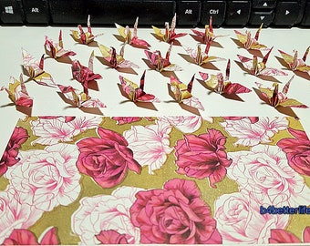 """Lot of 100pcs 1.5"""" Red Flower Design Hand-folded Origami Paper Cranes. (JD Paper Series) #FC15-84f."""