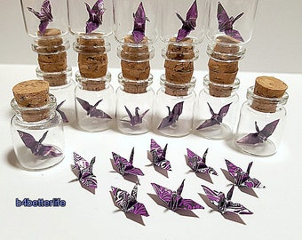 Lot of 12pcs Batik Design 1-inch Hand-folded Paper Crane In A Mini Glass Bottle With Cork. (WR paper series). #CIB12i.