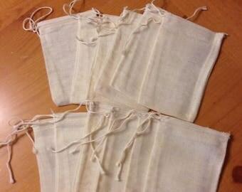 """On Sale Muslin Herb Bag  3""""x5"""" Set of 12"""