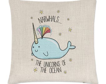 Narwhals The Unicorns Of The Ocean Linen Cushion Cover