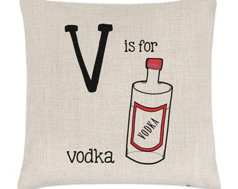Letter V Is For Vodka Linen Cushion Cover