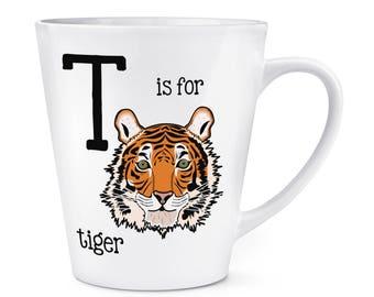 Letter T Is For Tiger 12oz Latte Mug Cup