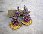 Chandelier Earrings. Filigree earrings. Soutache Embroidery earrings. Bohemian handmade earrings with tassel.