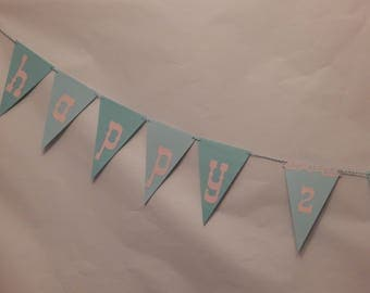 Pink and Turquoise Birthday banner
