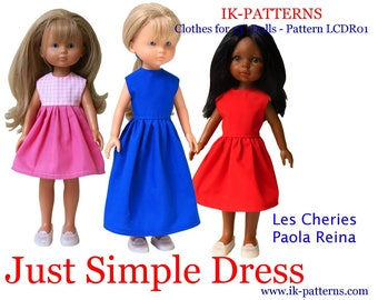 "made for 13"" Les Cheries Paola Reina Doll Clothes Patterns DRESS pattern poupee robe patron pdf"