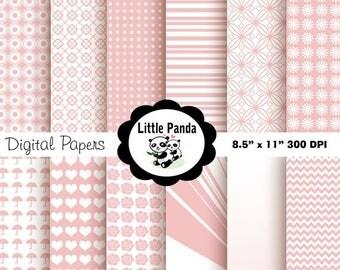 70% OFF SALE Baby Pink Digital Paper Pack, Scrapbook Papers, 12 jpg files 8.5 x 11  - Instant Download - D85