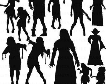 80% OFF SALE Zombie Silhouettes Digital Clip Art - Personal and Commercial Use - Instant Download - D383