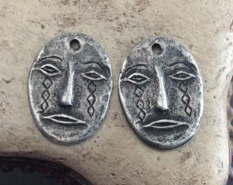 Handmade Face Charms, Artisan, Handcrafted, Jewelry Supplies No. 605CD