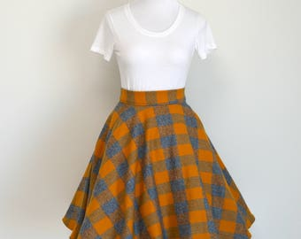 Butterbeer Me Up Hufflepuff House Pride Gold and Gray Plaid Flannel Circle / Swing Skirt