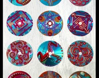 CELTE  peinture sur cds collés sur toile peinte nacrée