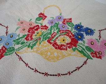 Embroidered square tablecloth floral basket, feed sack fabric, small, vintage textiles, linens, country home decor, lace edge, shabby chic