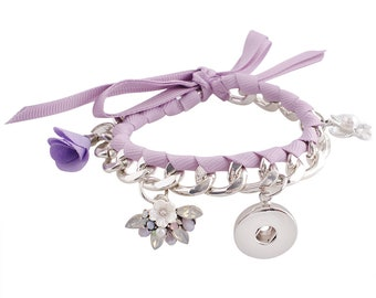 "KC0047  Romantic Light Purple Braided Grosgrain Ribbon Bracelet w/Exquisite Charms ~ And a Place for a Snap!  Will Fit 8"" and Up"