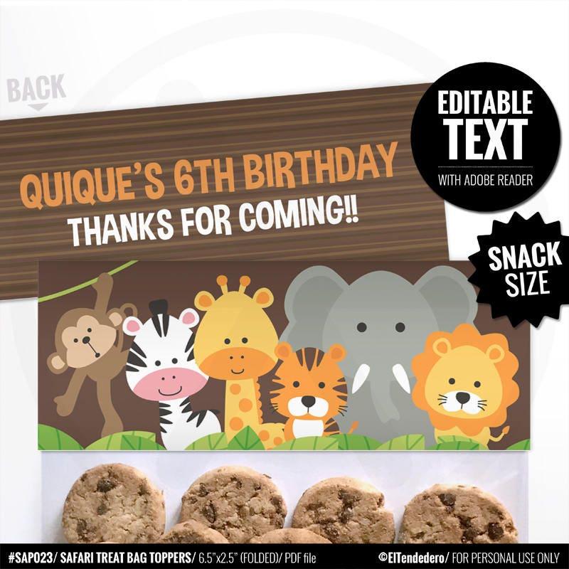 Safari Bag Toppers. Kids Birthday Treat Bag Toppers. Printable