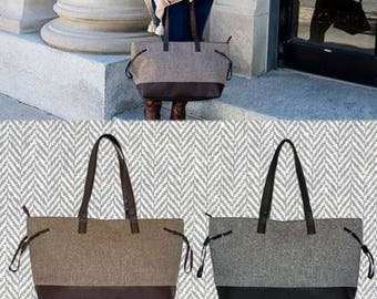 Collection Herringbone  Accent  TOTE Bag, Zipper, Tote Bag, Gift for Her