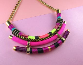 Tribal necklace, Bold necklace, Statement necklace,Thread necklace, Magenta necklace,Bib necklace, African necklace,ethnic necklace