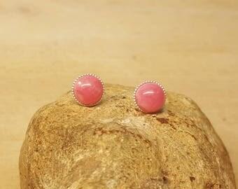 Rhodochrosite Stud earrings. 925 sterling silver. Reiki jewelry uk. 8mm gemstone Post earrings