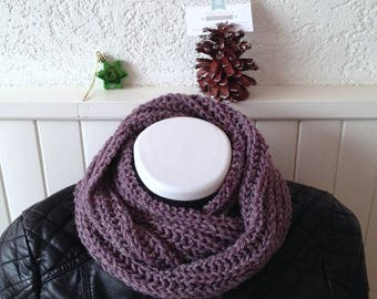 Large knit Snood mesh XL woman, Blueberry purple