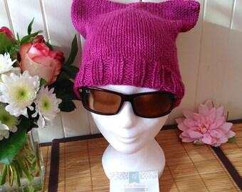 """So feminine """"Pussy Hat"""" cat hat, fuchsia"""