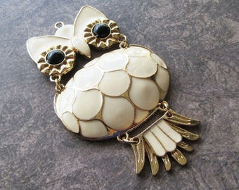 Gold and Cream Owl Pendant 90x54mm Enamel and Metal Big Large