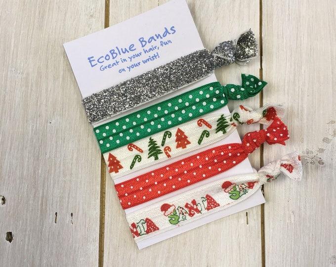 5 hair elastics, soft stretch hair ties, ponies, yoga hair ties, bracelets, ponytail holders - Christmas holiday mix