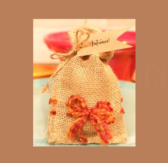 NEW ARRIVAL - FALL Burlap Bowed Bags and 3oz Mandarin & Clove Soap Bar | Choose from Three Tags: Autumn, Blessed, Family
