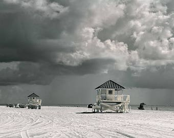 Life Guard Tower Photography Key Biscayne , FL Black /white wall art