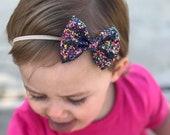 Baby bow headband | baby bows | baby headbands | toddler | clip sets | bows | glitter baby bows | nylon headbands | blue | glitter bows