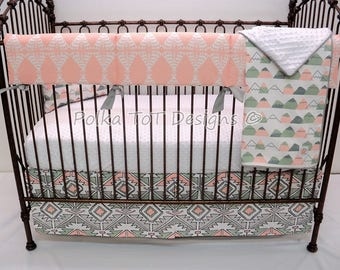 Navajo Bumperless Baby Bedding Peach, Gray & soft soft green Native American Nursery features cactus and tee pees