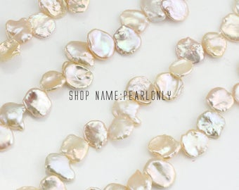 11-13mm Large pink color keshi pearl strands,side drill  baroque pearl strand,china freshwater reborn pearl strands,top side drilled hole,